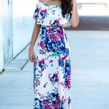 Hold the Drama Floral Off Shoulder Maxi Dress Shop Simply Me Boutique SMB – Simply Me Boutique