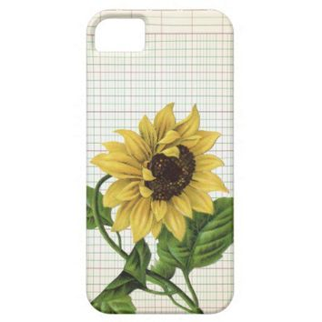 Vintage Sunflower on Ledger Paper iPhone 5 Case