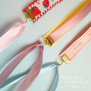 Ribbon Bracelet Sweet Strawberry Love, Pastel Pink & Yellow Ribbons, Cute For Girls, Adorable Jewelry, Romantic Kawaii Strawberry Bracelet