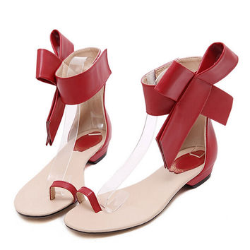 Xemonale Summer Flip Flops With Bowtie 2016 Gladiator Sandals Platform Shoes Woman Fashion Flats Elegant Women Shoes XWZ2207
