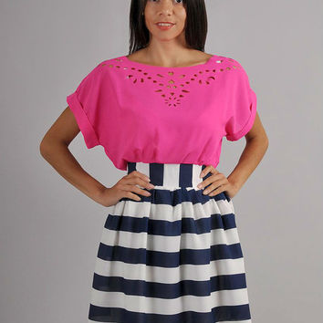 Bright Contrast Color Dress, Pink top and Blue skirt,Beach Dress Fashion 2014, Summer Dress Vintage Inspired.