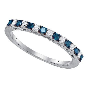 10kt White Gold Women's Round Blue Color Enhanced Diamond Band Ring 1/4 Cttw - FREE Shipping (US/CAN)