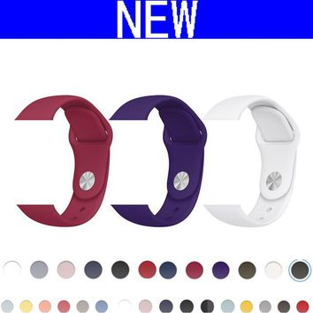 CRESTED New Sport silicone strap band For Apple Watch 42mm 38mm black Bracelet Soft Wrist watch strap For iWatch 3/2/1 belt