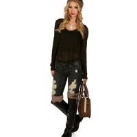 Sale-olive Chiffon Back Sweater Top