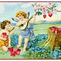Vintage Valentine Angels Cupids Collecting Hearts From Antique Card Counted Cross Stitch Pattern