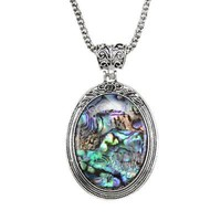 Women Sweater Long Chain Silver Color Necklace Oval Abalone Shell Pendant Gift