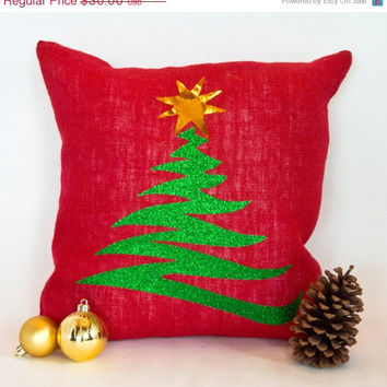 ChristmasinJulySALE Zig Zag glitter Christmas tree pillow slipcover