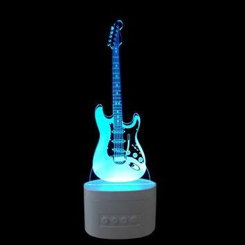 Guitar 3D LED Night Light Bluetooth Speaker Lamp
