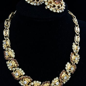 Beautiful Vintage Hobe Demi Necklace and Earrings