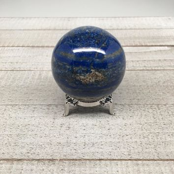 "235.1g, 2.1"" Natural Lapis Lazuli Crystal Sphere Ball Handmade @Afghanistan,LS03"