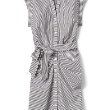 Stripe Ruched Shirtdress in Poplin|gap