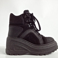 90's Cyber Leather Platform Wedge Ankle Boots // 8
