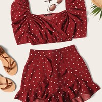 Heart Print Puff Sleeve Top With Ruffle Shorts Set