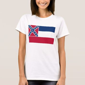 Women T Shirt with Flag of Mississippi State