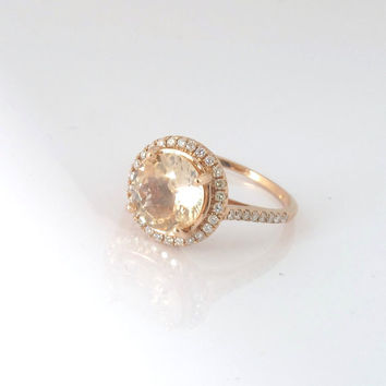 Peach champagne Sapphire ring, Diamond ring 14k rose gold ring, Fine jewelry engagement ring