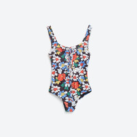 PRINTED FLORAL SWIMSUIT WITH CORD