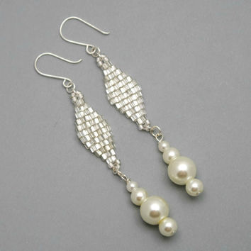 Shiny Silvery And Faux Pearl Long Earrings