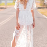 Gemma White Lace Maxi Dress