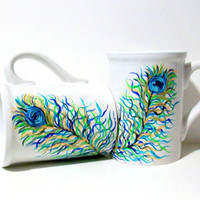 Painted Coffee Mugs Peacock Feathers Hand Painted Set of Two 16 oz.