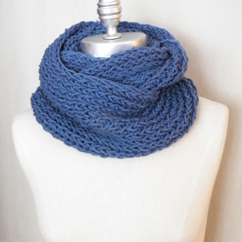 French Blue, Knit Infinity Scarf, Denim Blue, Loop Scarf, Mobius Circle Scarf,