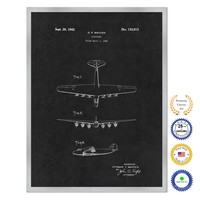 1942 Airplane Antique Patent Artwork Silver Framed Canvas Home Office Decor Great for Pilot Gift