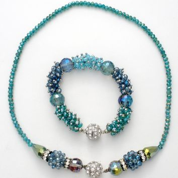 Blue Crystal Bead Necklace & Bracelet