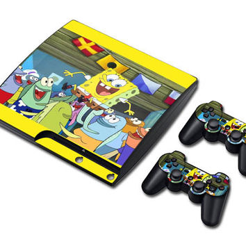 Spanch bob square pants sticker skin set for ps3 slim