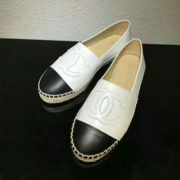 """Chanel"" Women Fashion All-match Casual Multicolor Sheepskin Loafer Flats Shoes Espadrilles Genuine Leather Single Shoes"