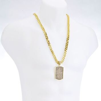 "Jewelry Kay style Hip Hop DOG TAG G/S Plated Pendant 30"" Heavy Cuban Chain Necklace Set HC 6038"