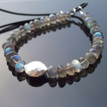 Labradorite Yoga bracelet Beaded friendship bracelet Adjustable closure Boho Luxe Hippie Bracelet