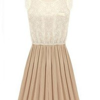 Pleated Chiffon Two Color Dress   S000019