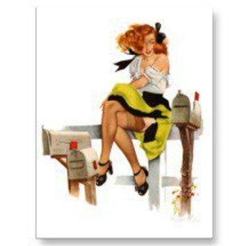 Kitsch Vintage Pin-Up Waiting for The Mail Man Postcard