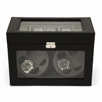 Black Leather Glass Top Four Watch Winder