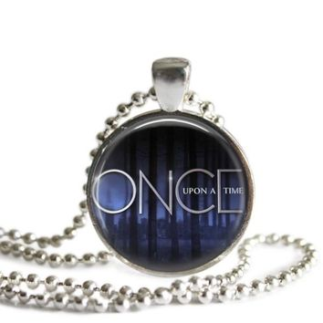 Once Upon A Time 1 Inch Silver Plated Pendant Necklace Handmade