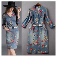 Fashion New Women's Washed Denim Dress Long Slim Casual Jean Dresses Floral printed S