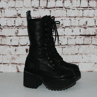 90s Muro Chunky Combat Boots Mega Platform Leather Black Lace Up Nu Goth Gothic Punk Cyber Grunge Hipster Festival Club Kid Rave 7 5 38