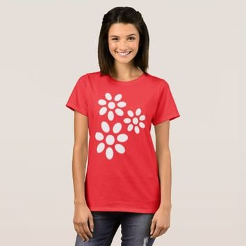 Elegant Chic White Flowers Pattern on Custom Red T-Shirt