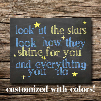 Look at the stars, look how they shine for you - Printable poster - nursery art