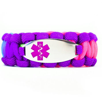Custom 550 Paracord Bracelet Medical ID - Personalized Engraved Purple Stainless Steel Medical ID Bracelet Includes FREE Engraving