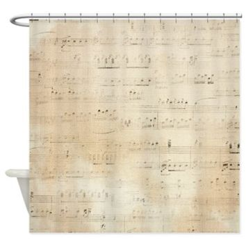 Brown Distressed Sheet Of Music Effect Shower Curt> Brown Distressed Sheet Of Music On Canvas Effect> Buy A Gift