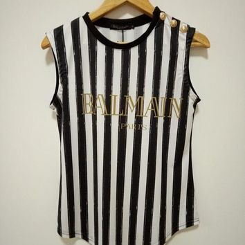 balmain women fashion classic letter multicolor stripe print vest buttons decoration sleeveless t shirt tops