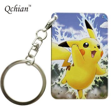 Hot Game Pokemon Pikachu Keychain for Monster Pet Enthusiasts Keyholder Print Key Chains Customer customization