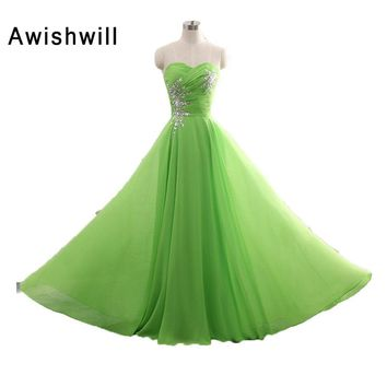 Abendkleider Vestido de Festa Green Long Evening Dress Sleeveless Beadings Sweetheart Neck Custom Plus Size Prom Dresses Cheap