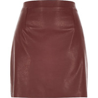 River Island Womens Deep brown leather-look A-line skirt