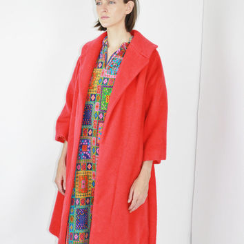 vtg 60's MOHAIR wool bold bright red coat no button coat MINIMALIST coat solid color warm 1950's wool coat petite small sm s
