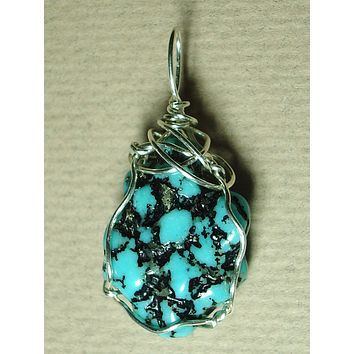 Turquoise Nugget Pendant Wire Wrapped .925 Sterling Silver