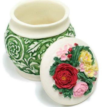 BX-039 Garden Vines & Flowers Polyresin Pot with Lid Jewelry Container