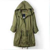 NEW WOMENS HOODIE DRAWSTRING ARMY GREEN MILITARY TRENCH PARKA JACKET JUMPER TOY