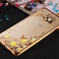 Flora Diamond Case for Samsung Galaxy A3 A5 A7 2016 J5 J7 S5 S6 S7 Edge Chic Flower Bling Soft TPU Clear Phone Back Cover