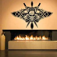 Wall Decor Vinyl Sticker Room Decal Irish Celtic Design 3 Skeletons Vikings Symbol 1362